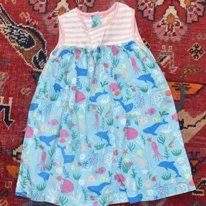 Baby Boden Pink Little Mermaid Whale Dress 12-18M